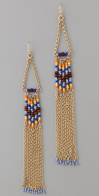 Adia Kibur Long Chain & Bead Earrings