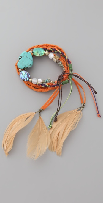 Adia Kibur Feather & Bead Bracelet Set