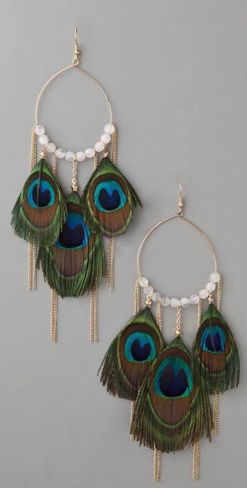 Adia Kibur Peacock Feather & Chain Earrings