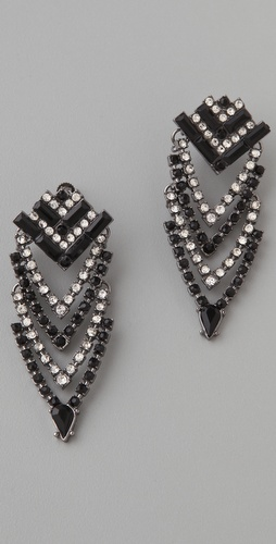 Adia Kibur Jet Stone & Crystal Art Deco Earrings