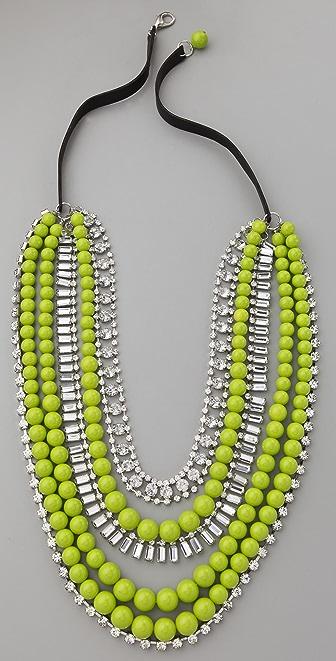 Adia Kibur Multi-Strand Neon Bead & Crystal Necklace