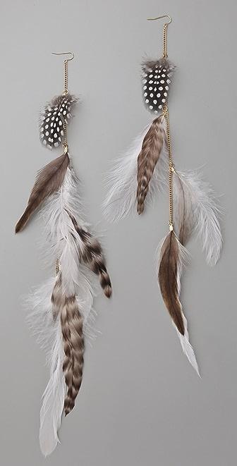 Adia Kibur Long Feather Earrings
