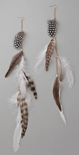 Adia Kibur Long Feather Earrings
