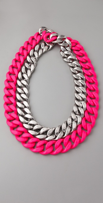 Adia Kibur Silver & Neon Chain Link Necklace