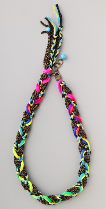 Adia Kibur Chain & Neon Braided Necklace