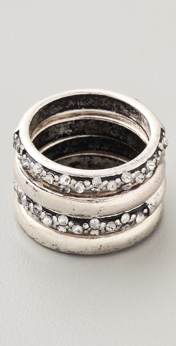Adia Kibur Silver & Crystal Ring Set