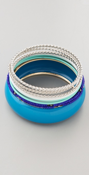 Adia Kibur Blue & Silver Bangle Set