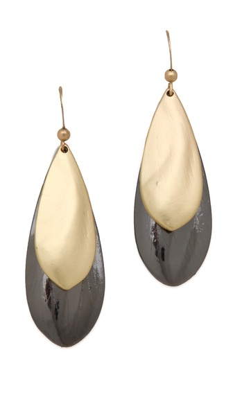 Adia Kibur Hematite & Gold Teardrop Earrings