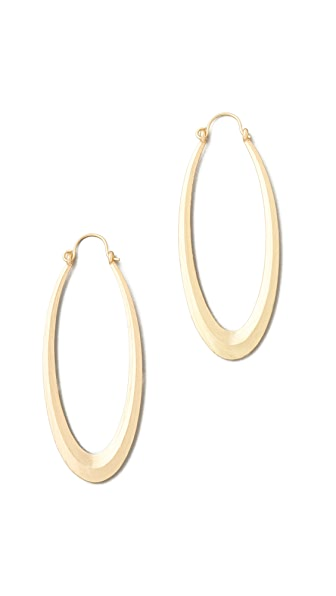 Adia Kibur Matte Gold Hoop Earrings