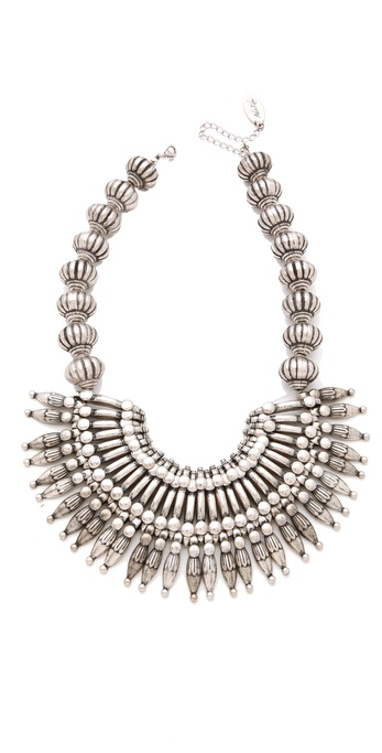 Adia Kibur Silver Bib Necklace