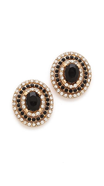 Adia Kibur Crystal Oval Stud Earrings