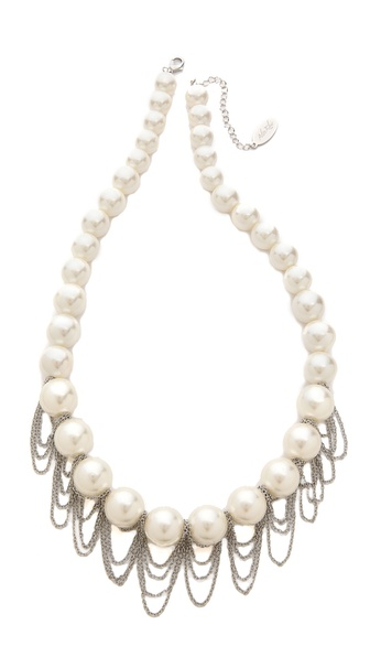 Adia Kibur Imitation Pearl & Chain Necklace
