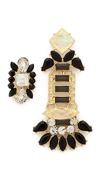 Adia Kibur Crystal Asymmetrical Earrings
