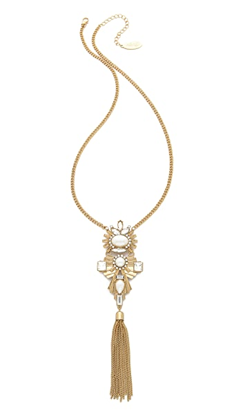 Adia Kibur Crystal Tassel Necklace - Gold