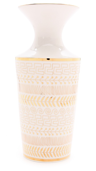 Jonathan Adler Greek Borders Futura Vase - White/Gold