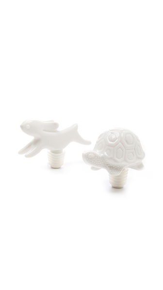 Jonathan Adler Tortoise & the Hare Bottlestopper Set