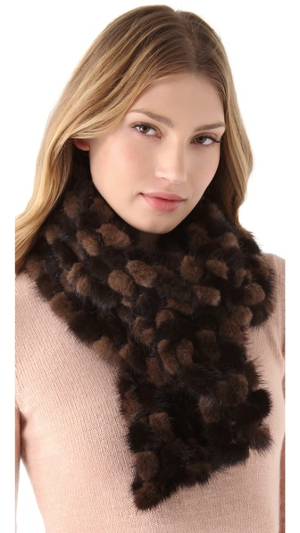 Adrienne Landau Mink Fur Crochet Scarf