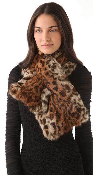 Adrienne Landau Leopard Rabbit Fur Scarf