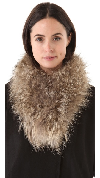 Adrienne Landau Raccoon Fur Clip Scarf