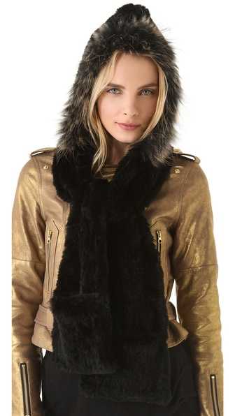 Adrienne Landau Rabbit Fur Hooded Scarf
