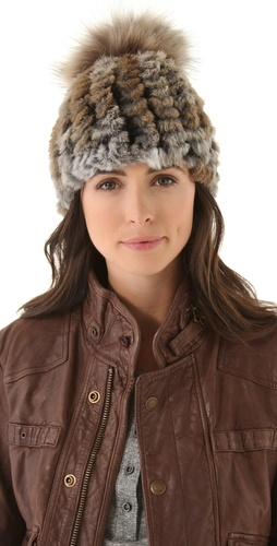 Adrienne Landau Rabbit Fur Pom Pom Hat at Shopbop.com