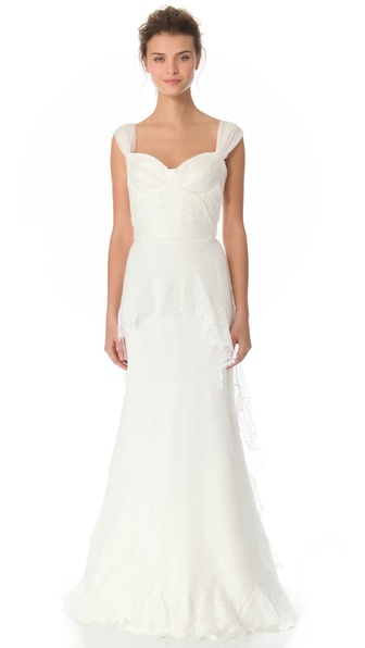 Alberta Ferretti Collection Cap Sleeve Gown
