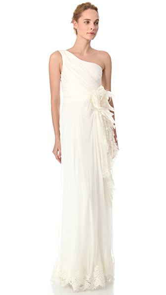 Alberta Ferretti Collection One Shoulder Gown