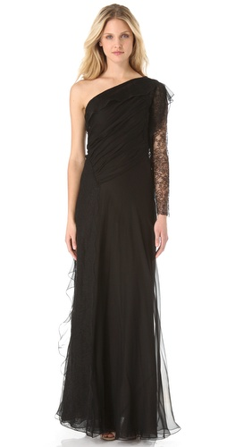 Alberta Ferretti Collection Chiffon Asymmetrical Gown