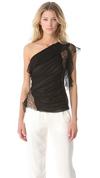 Alberta Ferretti Collection Asymmetrical One Shoulder Ruffle Blouse