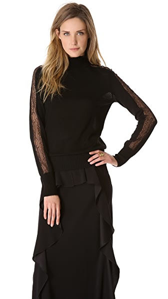 Alberta Ferretti Collection Long Sleeve Top with Lace