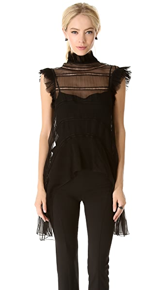 Alberta Ferretti Collection Sleeveless Ruffle Top