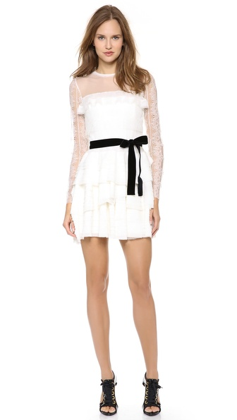 Alberta Ferretti Collection Lace Dress with Velvet Sash