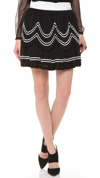 Alberta Ferretti Collection Accordion Tulle Layered Skirt - White/Black at Shopbop / East Dane
