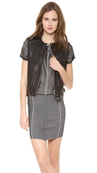 Alberta Ferretti Collection Sleeveless Leather Vest - Black at Shopbop / East Dane