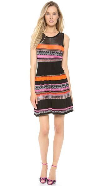 Alberta Ferretti Collection Tulle Stretch Multi Colored Dress