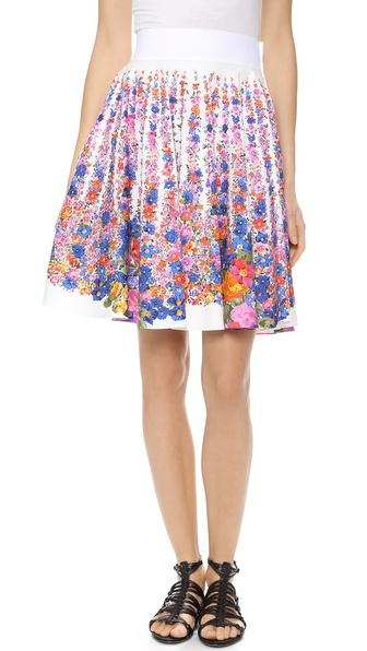 Alberta Ferretti Collection Floral Poplin Skirt - White Multi at Shopbop / East Dane