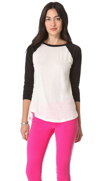 AG Adriano Goldschmied Contrast Baseball Top
