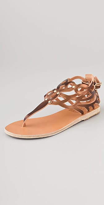 Ancient Greek Sandals Medea Metallic Flat Thong Sandals