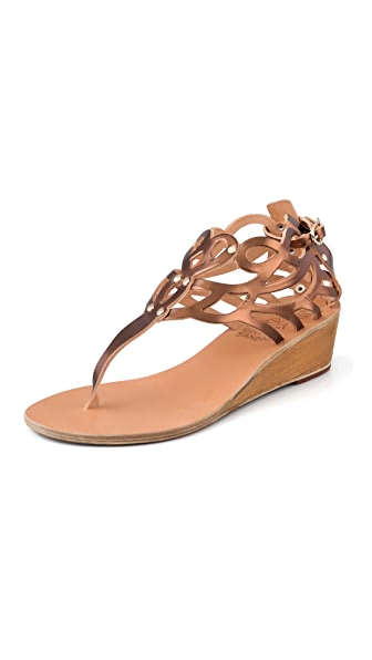 Ancient Greek Sandals Medea Metallic Wedge Thong Sandals