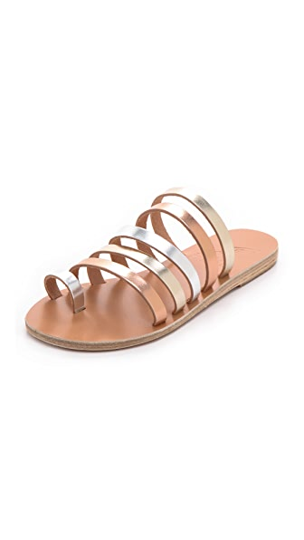 Ancient Greek Sandals Niki Metallic Strappy Slides
