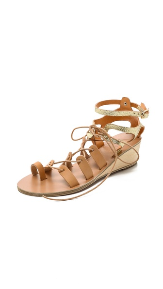 Ancient Greek Sandals Kiveli Wedge Sandals - Natural/Cracked Gold at Shopbop / East Dane