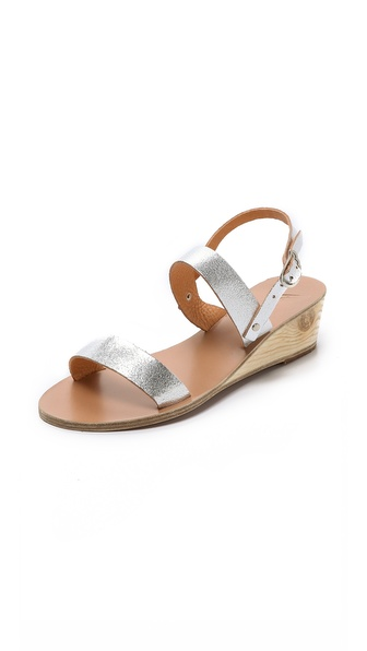 Ancient Greek Sandals Clio Wedge Sandals - Cracked Silver at Shopbop / East Dane