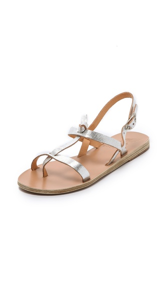 Ancient Greek Sandals Galini Flat Sandals - Cracked Silver at Shopbop / East Dane