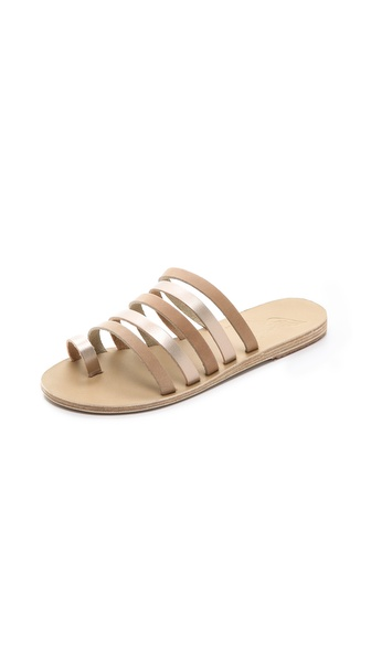Ancient Greek Sandals Niki Strappy Slide Sandals - Corda/Metal Sand at Shopbop / East Dane