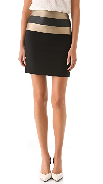 Alex Kramer Blush Leather Miniskirt