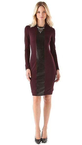 Alex Kramer Long Sleeve Dress with Leather Panel