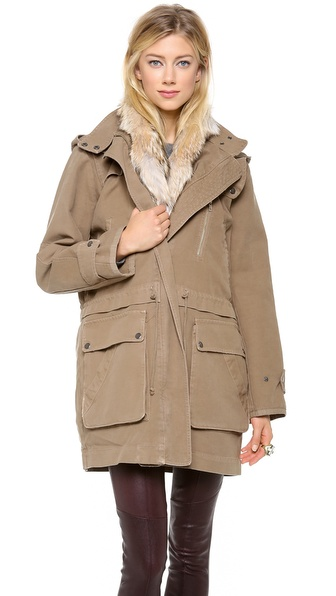A.L.C. Forrest Fur Trim Jacket - Army at Shopbop / East Dane