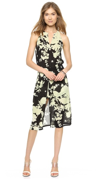 Shop A.L.C. online and buy A.L.C. Kanan Dress Black/Acid - An elongated slit brings graceful drape to this floral A.L.C. midi dress. Elastic cinches the waist, and a button closes the keyhole. Miniskirt lining. Semi sheer bodice. Fabric: Silk chiffon. 100% silk. Dry clean. Imported, China. Measurements Length: 43in / 109.5cm, from shoulder Measurements from size 2. Available sizes: 6
