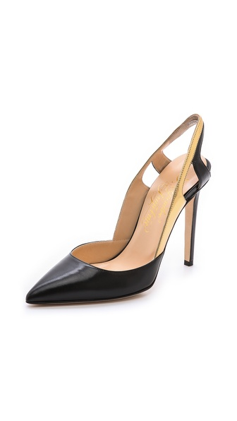 Alejandro Ingelmo Frederica Pointed Toe Pumps - Black/Gold at Shopbop / East Dane