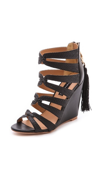 Alejandra G Racquel Cutout Wedge Sandals - Black at Shopbop / East Dane